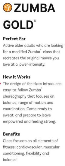 New Class! Zumba Gold - Starts 11th September