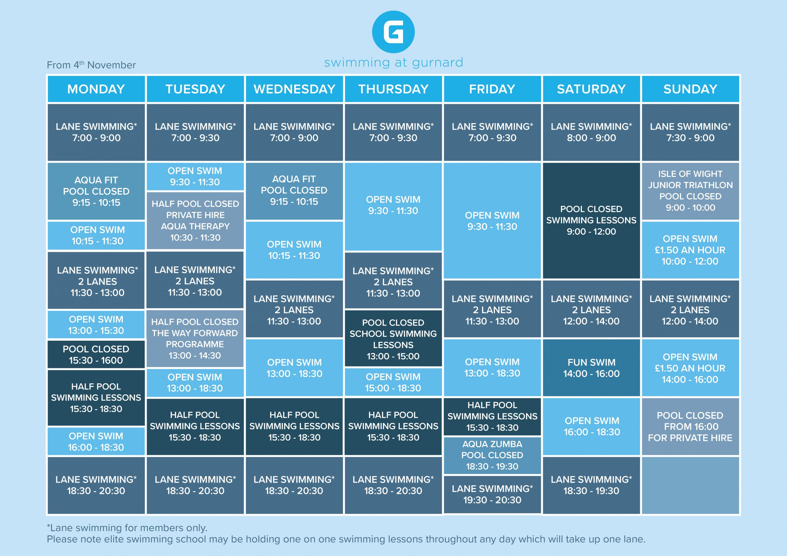 Current Swimming Timetable